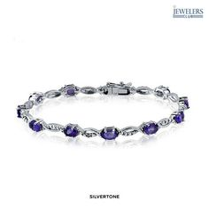 4.2 Carat Total Weight Genuine Amethyst & Diamond Accent Bracelet in Sterling Silver