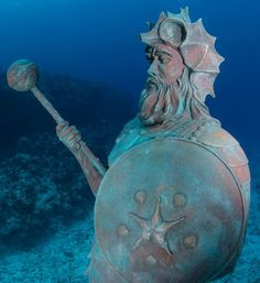 Guardian of the Reef statue off Grand Cayman