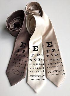 Eye Chart necktie. Vintage inspired optometrist by Cyberoptix
