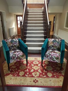 Superb statement chairs to frame the stairs - we used a combination of Designers Guild Martineau berry & Christian Lacroix Monceau – colvert Sofa Bed, Couch, Bespoke Sofas, Cushion Filling, Designers Guild, Christian Lacroix, Cribs, Berry, Sofa