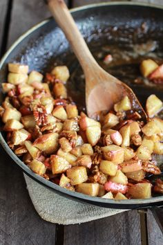 Apple Pecan Pie Topping for Cronuts.  The Cronuts have a recipe version using refrigerated crescent roll dough.  They are fried, but could try baking them.  This apple pecan pie filling is placed on top of the cronuts.