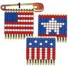 Made with seed beads and safety pins.  Botton Flag is11 across/10 high. Both the Star Flag and the Traditional Flag are 11 across/9 high.  Cute for July 4th :)