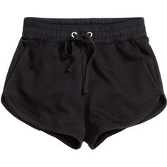 H&M Sweatshirt shorts ($10) ❤ liked on Polyvore featuring shorts, bottoms, pants, short, black, h&m shorts, short shorts, hot pants, mini shorts and mini short shorts