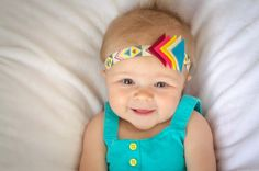 Colorful Tribal Print Elastic Headband with Felt Triangle Accent - Newborn, Infant, Toddler, Adult Sizes - Great for Spring and Summer!