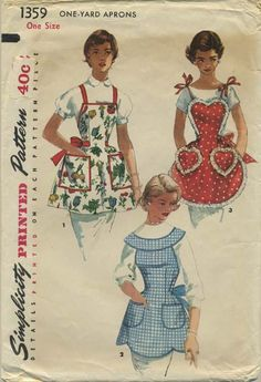 Vintage Apron Sewing Pattern | Simplicity 1359 | Year 1955 | One Size | Reissued as Simplicity 5961 in the year 2002  https://www.facebook.com/VintageApronPatterns  www.etsy.com/shop/vintageapronpatterns