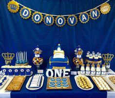 Royal blue & gold birthday party! See more party planning ideas at CatchMyParty.com!