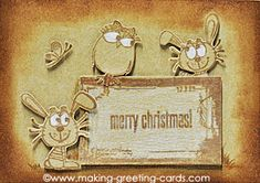 Handmade Christmas Card - Made this Merry Christmas card using kraft cardstock, Grace Taylor background,  Penny Black's cute animals images and sepia ink.