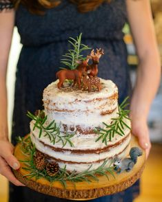 Naked cake baby shower cake Woodland theme baby shower forest baby shower ideas baby deer squirrel naked cake | caitlin hamilton photography