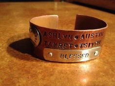 Hand stamped and hammered copper and silver personalized by Dentit Love love love this!!!!!!!