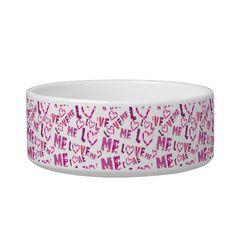 Whimsical Love Me Print Design Pet Food Bowls