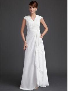 A-Line/Princess V-neck Floor-Length Chiffon Mother of the Bride or even Wedding dress. Modest