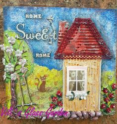 """Mix media canvas """"Home Sweet Home"""""""