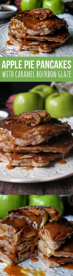 These little gems taste like an apple pie, but in pancake form. They're jam-packed with apples and spices. Don't let the bourbon scare you. It's not overpowering in the sauce. The warm caramel glaze is the perfect complement to the pancake. Perfect fall breakfast or brunch recipe!