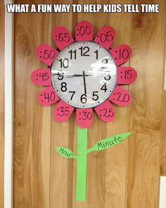 Flower clock teaching time telling Learn To Tell Time, Teaching Time, Homeschool Math, Homeschooling, Kids Education, Classroom Decor, Classroom Clock, Future Classroom, Preschool Activities
