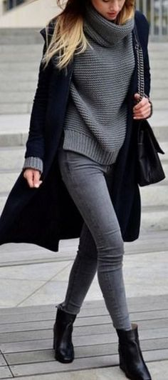 #winter #outfits / Grey Knitted Turtle Neck - Dark Blue Cardigan