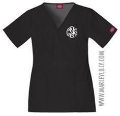 Monogrammed Dickies Empire Waist Scrub Top - perfect for nurses