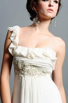 Buy A-Line One shoulder Chiffon Sweep Train Wedding Dress-HuLu