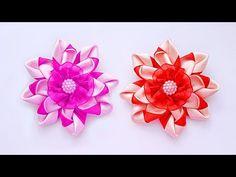 Цветы из атласных лент. Flowers of satin ribbons. DIY - YouTube