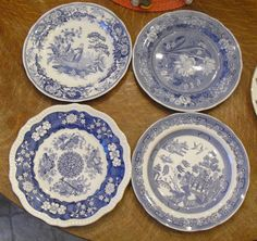4 SPODE BLUE ROOM PLATES Botanical Girl at Well Trophies Willow  #Spode