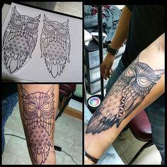 In progress. ... #owl design with #floweroflife for belly.. thanks for looking! #tattoos #tattoo  #microns #zigs #artwork #blxckink #tttism #darkartists #elpasotexasart #owltattoo #geometric #shoplife #walkinswelcome #tattooshop #elpasoart #dots #lines #blackwork #blackworkers #blackngrey #hummingbirdrotary by c1gravity