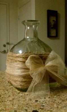 Sweet & Simple idea. Bottle, Twine & Tulle