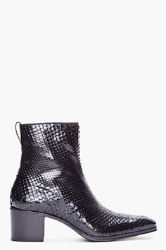 YVES SAINT LAURENT Black High-Top Python Boots