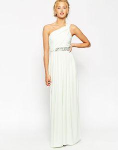 ASOS | ASOS One Shoulder Maxi With Embellished Trim Dress at ASOS