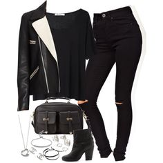 A fashion look from March 2015 featuring white short sleeve shirt, genuine leather jackets and petite skinny jeans. Browse and shop related looks. Tv Show Outfits, Fandom Outfits, Really Cute Outfits, Cute Casual Outfits, Looks Black, Elsa Peretti, Fashion Seasons, Teenager Outfits, Winter Fashion Outfits
