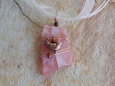 Recycled Pink Stained Glass Necklace by UniqueChiqueJewelry, $15.00