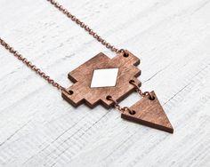 Kette aus Holz im geometrischen Design, Boho, Ethno / long necklace, wood, triangle, boho look, festival look made by JuliaWine via DaWanda.com