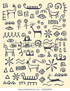 illustration of hand drawn animals and abstract elements made in cave drawings style. - stock vectorVector illustration of hand drawn animals and abstract elements made in cave drawings style. Cave Drawings, Animal Drawings, Drawing Animals, Ink Drawings, Arte Tribal, Tribal Art, Art Pariétal, Drawing Hands, Aboriginal Art