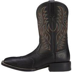 Ariat Men's Sport Western Wide Square Toe Roper Boots (Black Deertan/Black, Size 11) - Men's Ropers at Academy Sports