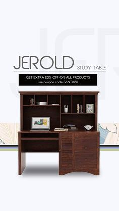 1. Less is more. With different sections for storage, this study table is designed to make the most of your space. The slatted pattern at below cabinet adds to its contemporary design. 2. Finely crafted from Sheesham wood, add upto its durability. 3. Swipe through three different finish options which includes honey, walnut and teak. Study Tables, Wooden Street, Walnut Finish, Contemporary Design, Teak, Corner Desk, Honey, Cabinet, Space
