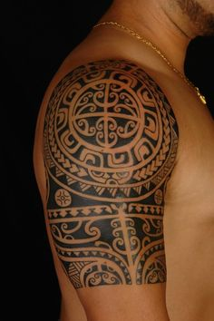 Half Sleeve Polynesian Tattoo for Men
