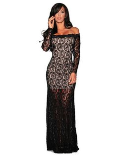 Hollow Lace Off Shoulder Long Sleeve Maxi Dress