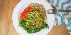 Quinoa Food Bowl, #healthy #quick #gettheglow #madeleineshaw #miso #quinoa #avocado www.amigaprincess.com