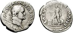 Silver coin of Emperor Galba. He reigned in 68-69 AD.