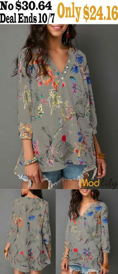8b0acece05b092 Split Neck Three Quarter Sleeve Blouse On Sale At Modlily. Free shipping.  And you could enjoy lower price before Ocober 7. Action now.