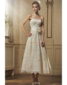 exquisite Strapless A-line Tea-length Wedding Dress With Flower And Applique High Street Wedding Dresses, Vintage Style Wedding Dresses, Elegant Wedding Gowns, Designer Wedding Gowns, Country Wedding Dresses, Colored Wedding Dresses, Cheap Wedding Dress, Wedding Dress Styles, Dream Wedding Dresses