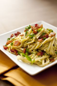Recipe: Pasta with creamy leek and garlic pesto || Photo: Evan Sung for The New York Times