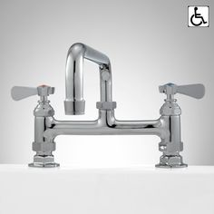 "Deck-Mount+Faucet+with+12""+Swing+Spout+-+Chrome"