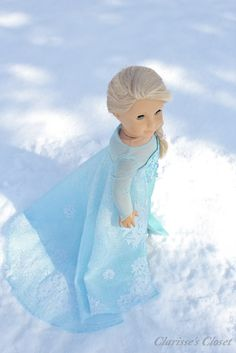InCREDibly lovely Elsa costume on custom American Girl doll by ClarissesCloset inspired by Disney's Frozen
