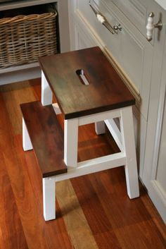 We have an unfinished Ikea Step Stool, I think I am going to go with this idea... I'll probablly go with golden oak stain for the steps to somewhat match our kitchen cabinets  Lilyfield Life: Transforming an IKEA step stool