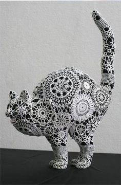 """Joana Vasonconcelos """"Mago"""" cat painted faience, glazed ceramic and cotton crochet"""