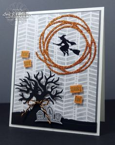 LOVE the Swirly Scribbles Thinlit die used on pumpkin pie glimmer paper as the feature on this handmade Halloween card. Subtle designer paper behind the entire scene allows the sppoky tree to reach out and grab you!