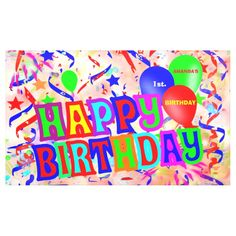Shop Happy birthday, birthday party banner created by Boopoobeedoogift. Outdoor Banners, Word Out, Happy Birthday Banners, Birthdays, Anniversary, How To Get, Words, Party, Anniversaries