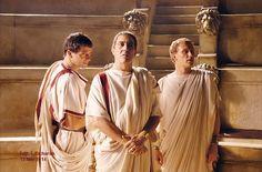 "L-R: James Purefoy (""Antony""), Ciarán Hinds (""Caesar""), and Kevin McKidd (""Vorenus"")"