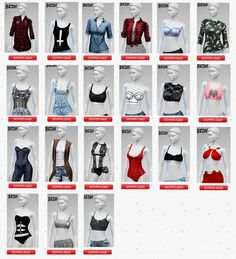 Tops for females at Besh via Sims 4 Updates