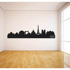 Paris City Skyline Decal Paris France State Wall Decal Paris Skyline Wall Art Wall Decor featuring polyvore, home, home decor, wall art, home & living, home décor, silver, wall decals & murals, wall décor, car door decals, window decals, chicago skyline wall decal, chicago wall art and car window decals
