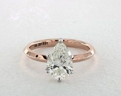 1.50 Carat H-SI2 Pear Shape Diamond. 14K Rose Gold Solitaire Engagement Ring 460032
